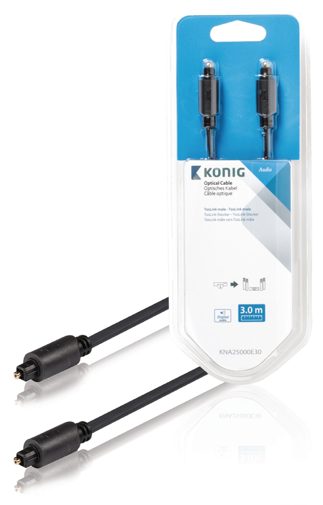 König digitální optický audio kabel Toslink zástrčka - Toslink zástrčka 3 m KNA25000E30