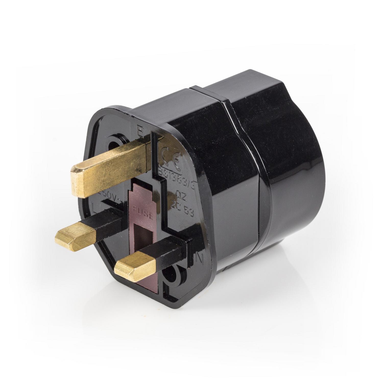 Cestovní adaptér Evropa na UK zemněný, černý EL-TRAVEL01BL