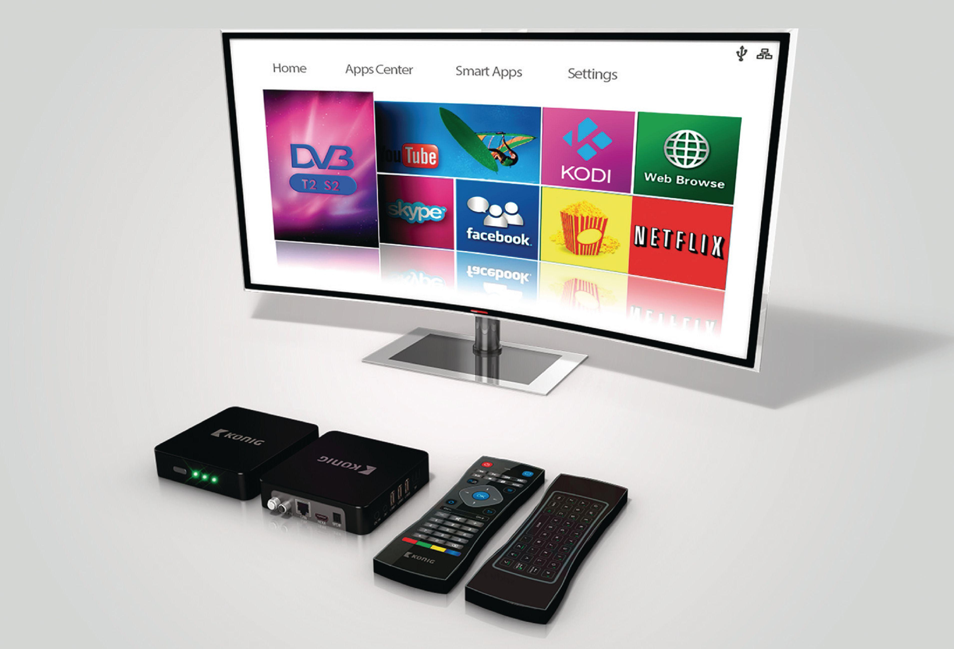 Android smart TV box 4K, 3D, 5G, Wi-Fi a tunery DVB-T2/S König DVB-TS2 4KASB